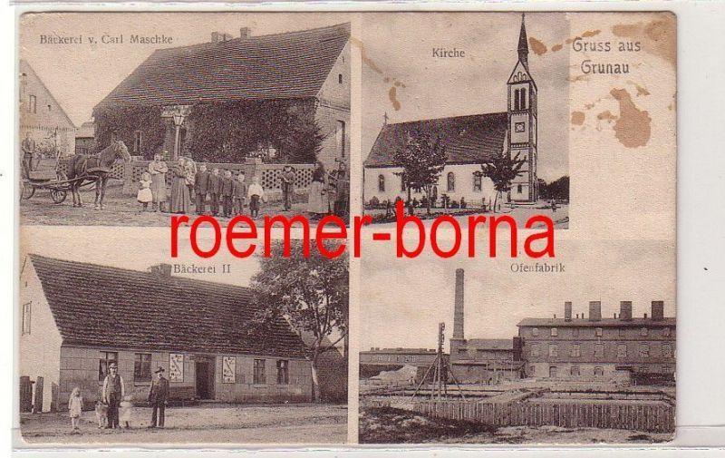 80889 Mehrbild Ak Gruss aus Grunau Bäckerei Maschke, Ofenfabrik usw. um 1920