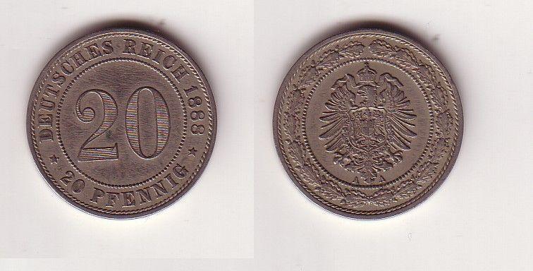 20 Pfennig Nickel Münze Kaiserreich 1888 A, Jäger 9  (116007)