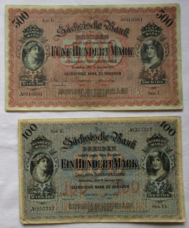 100 und 500 Mark Banknoten sächsische Bank zu Dresden 1911 (111201)