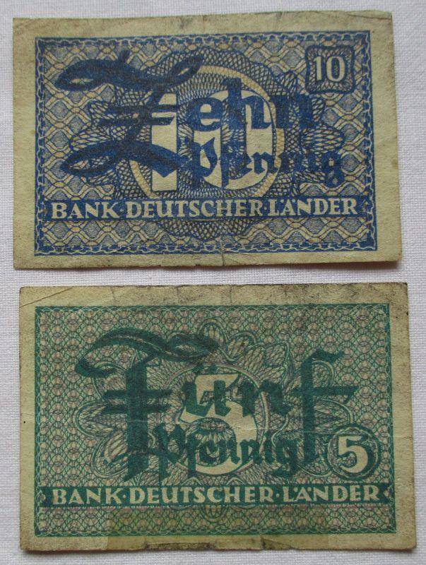 5 und 10 Pfennig Banknoten Bank Deutscher Länder (111564)