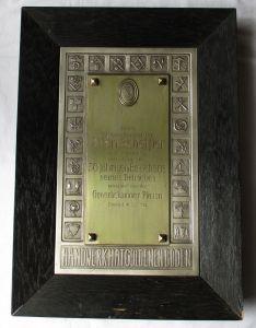 Wunderbares plastisches Metallbild Gewerbekammer Plauen 1934 (115045)