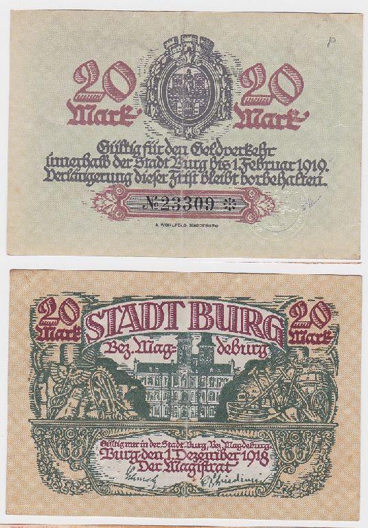 20 Mark Banknote Notgeld Stadt Burg Bez.Magdeburg 1.12.1918 (119033)