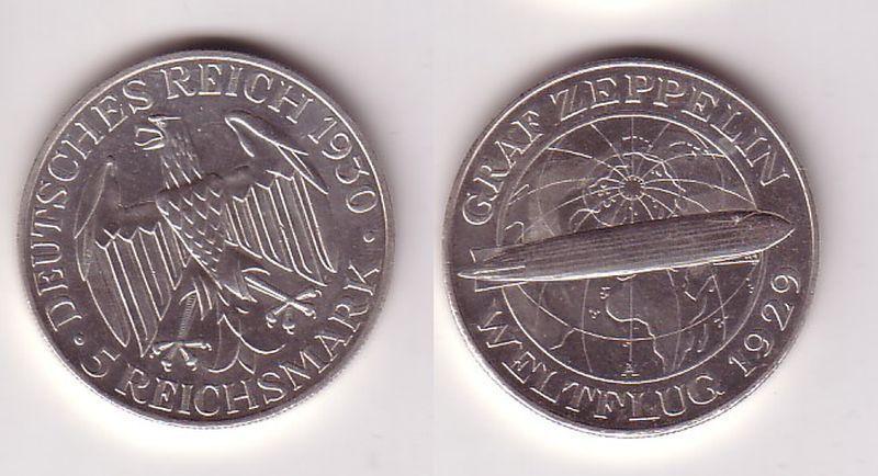 5 Mark Silber Muenze Graf Zeppelin Weltflug 1930 A (115306)