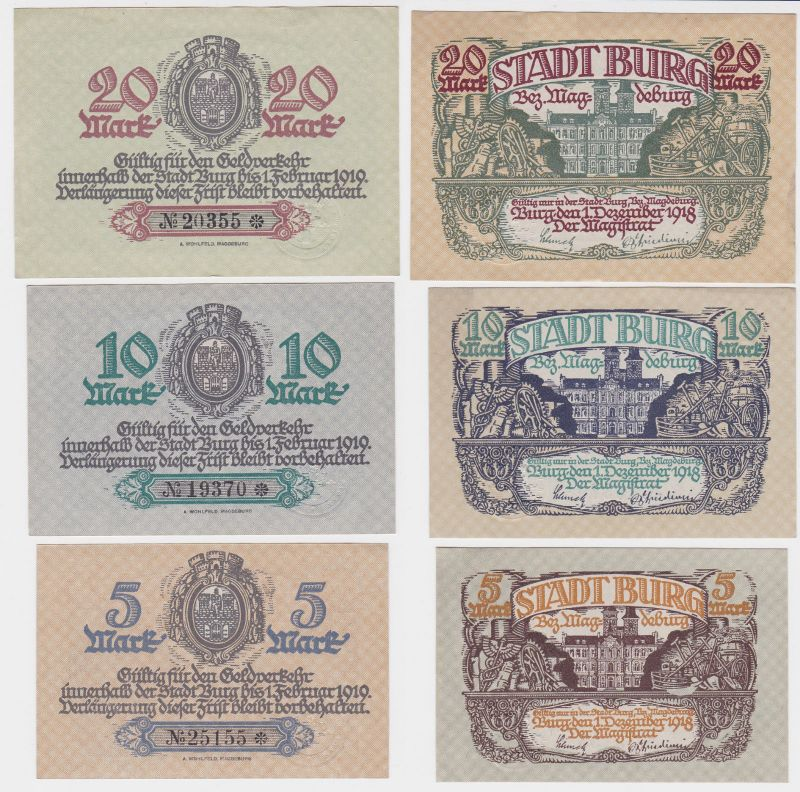 5, 10 & 20 Mark Banknoten Notgeld Stadt Burg Bez.Magdeburg 1918 (116557)
