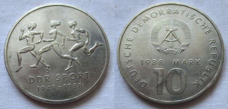 DDR Gedenk Münze 10 Mark 40 Jahre DDR Sport 1988 (124631)