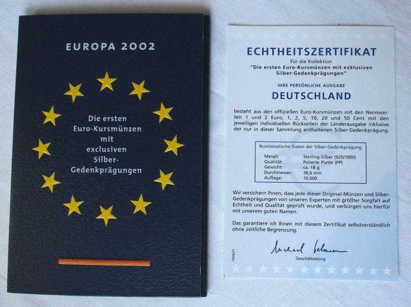 KMS Euro Kursmünzensatz 2002 von Deutschland mit Silber-Gedenkprägung (115531)