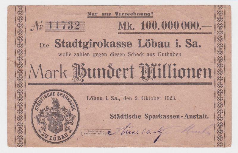 100 Millionen Mark Banknote Stadtgirokasse Löbau 2.10.1923 (110432)
