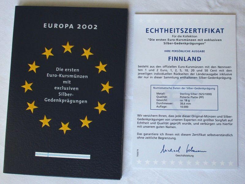 KMS Euro Kursmünzensatz 2002 von Finnland mit Silber-Gedenkprägung (117586)
