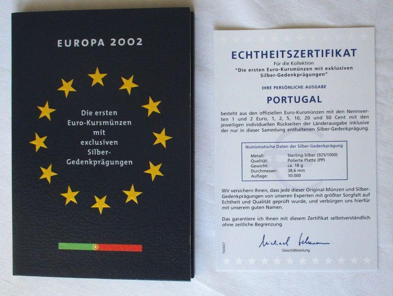 KMS Euro Kursmünzensatz 2002 von Portugal mit Silber-Gedenkprägung (113591)