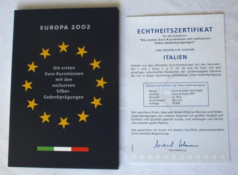 KMS Euro Kursmünzensatz 2002 von Italien mit Silber-Gedenkprägung (114288)