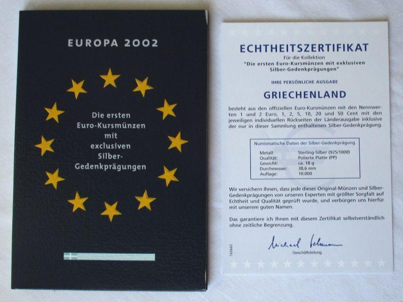 KMS Euro Kursmünzensatz 2002 von Griechenland mit Silber-Gedenkprägung (113312)