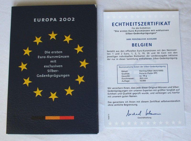 KMS Euro Kursmünzensatz 2002 von Belgien mit Silber-Gedenkprägung (111455)