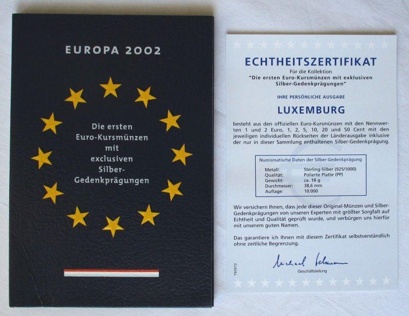 KMS Euro Kursmünzensatz 2002 von Luxemburg mit Silber-Gedenkprägung (119392)