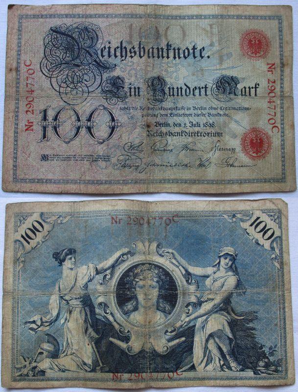 100 Mark Banknote Kaiserreich Deutsches Reich 01.07.1898 (100797)
