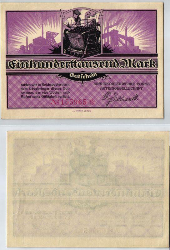 100000 Mark Banknote Braunkohlenwerke Borna um 1923 (123948)