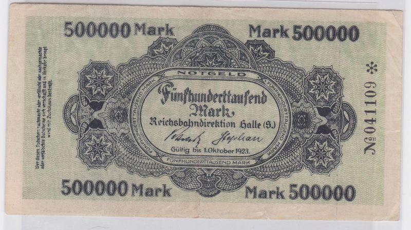 500000 Mark Banknote Halle Reichsbahndirektion 1.Oktober 1923 (119508)