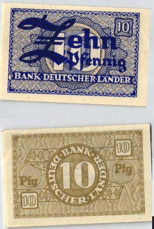 10 Pfennig Banknote Bank Deutscher Länder Rosenberg Nr.251 b (124018)