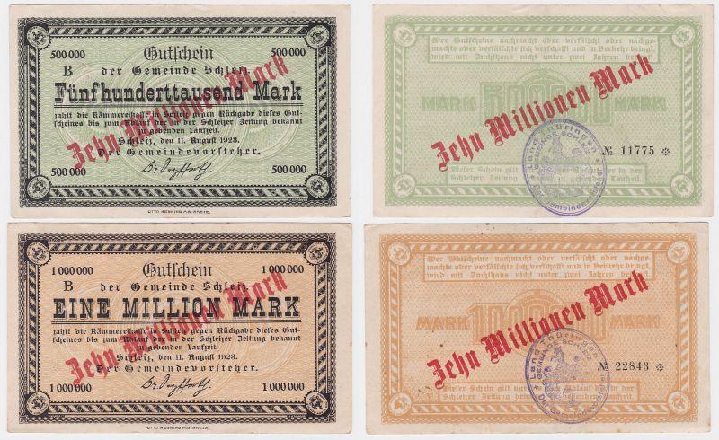 2 x 10 Millionen Mark Banknoten Gemeinde Schleiz 11.08.1923 (122113)