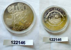 5 Dollar Nickel Münze Liberia 2000 Europa Fahne vor Landkarte (122146)