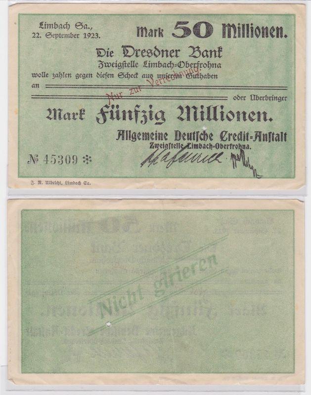50 Millionen Mark Banknote Dresdner Bank Limbach 22.9.1923 (121679)