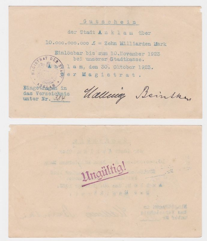10 Milliarden Mark Banknote Stadt Anklam 30.10.1923 (122280)