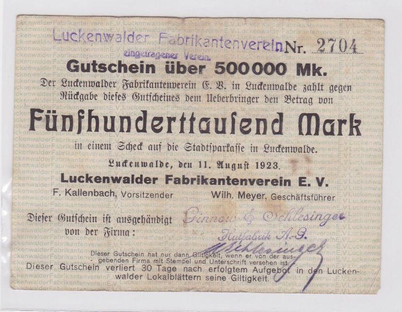 500000 Mark Banknote Luckenwalder Fabkrikantenverein e.V. 11.8.1923 (122077)