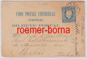 28077 Ganzsachen Postkarte Portugal von Lissabon nach Mailand 1881