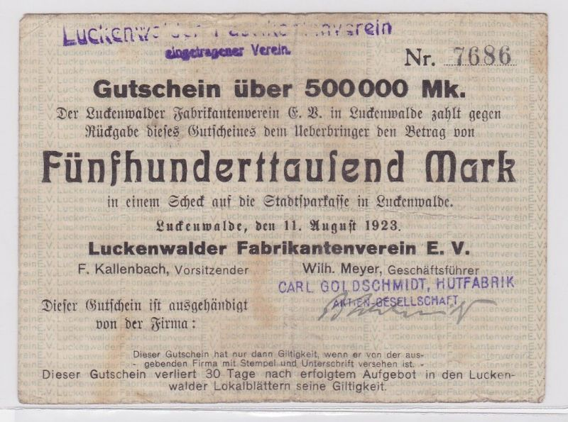 500000 Mark Banknote Luckenwalder Fabkrikantenverein e.V. 11.8.1923 (122452)