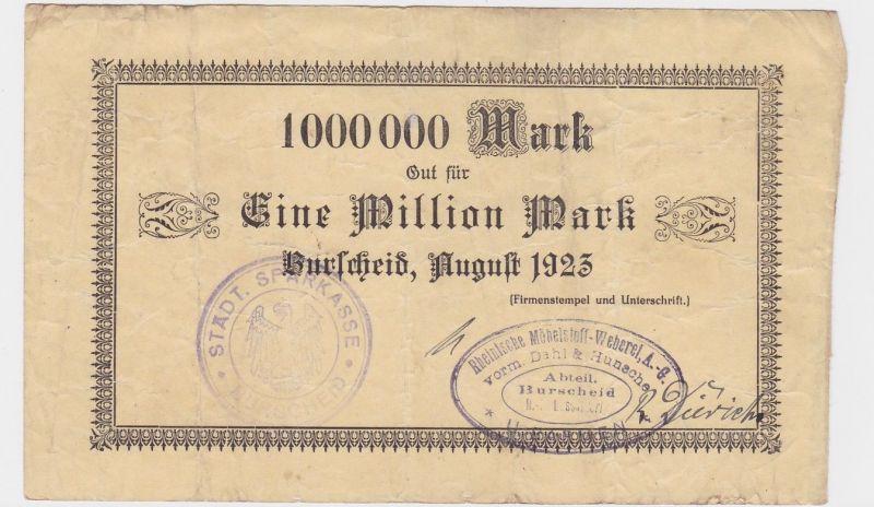 1 Million Mark Banknote Burscheid Rhein.Möbelstoff Weberei 1923 (122291)