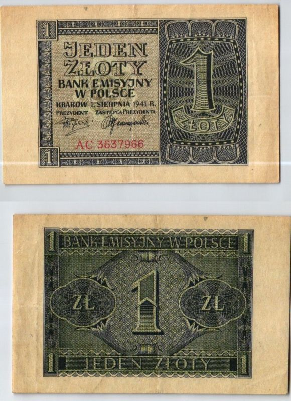 1 Zloty Banknote Generalgouvernement Polen 1941 Ro.579a (123970)