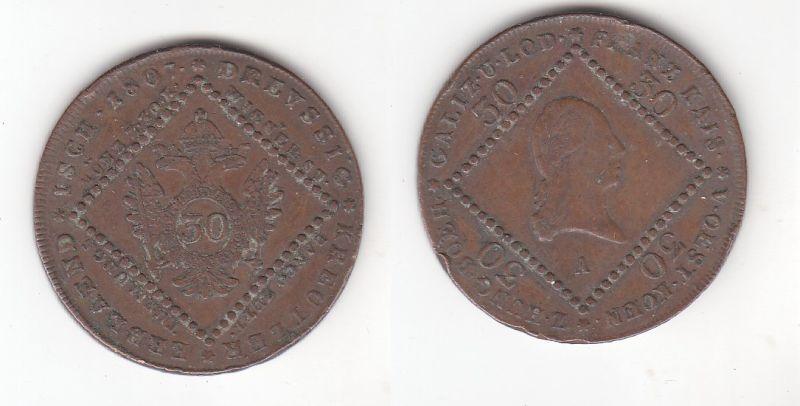 30 Kreuzer Kupfer Münze Österreich 1807 A (116399)