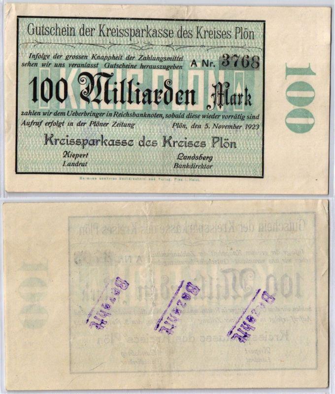 100Milliarden Mark Banknote Inflation Kreissparkasse des Plön 5.11.1923 (122469)