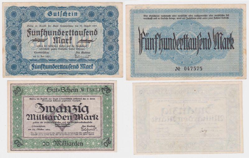 2 Banknoten Inflation Stadt Crimmitschau 1923 (121272)