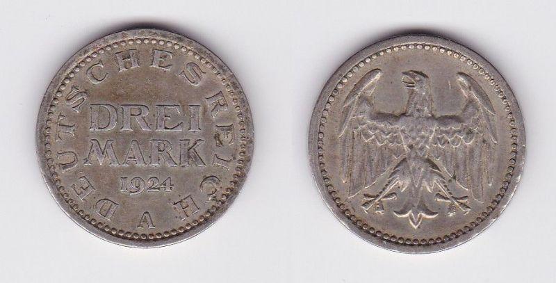 3 Mark Silbermünze Weimarer Republik 1924 A Jäger 312  (122966)