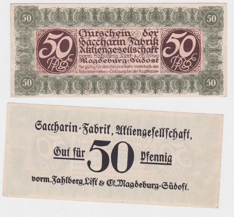 50Pfennig Banknote Notgeld Sacharin Fabrik Magdeburg vorm.Fahlberg List (120577)