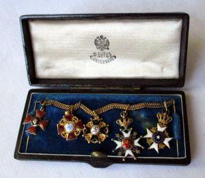 Russland Miniaturkettchen mit 5 emaillierten Orden im Originaletui (124653)