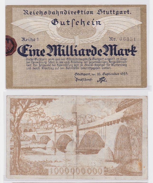 1 Million Mark Banknote Reichsbahndirektion Stuttgart 26.09.1923 (117306)