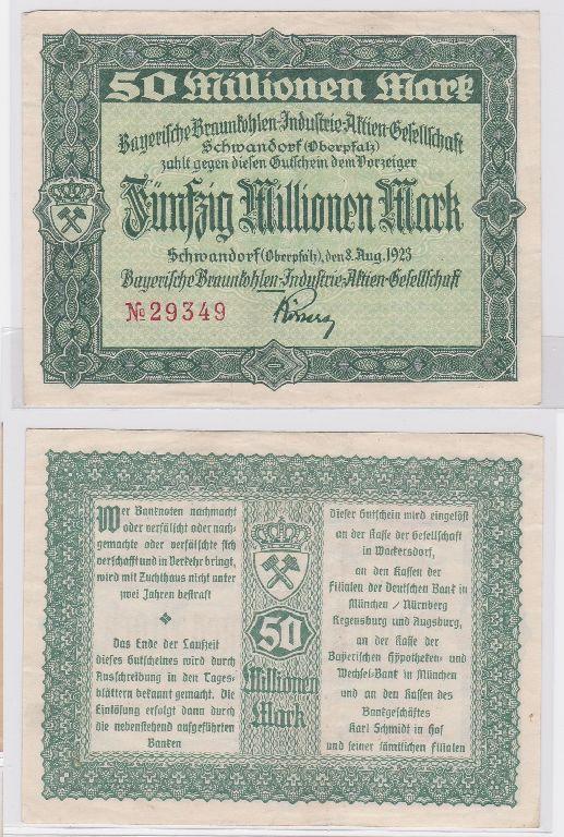 50 Millionen Mark Banknote Bayerische Braunkohlen A.G. Schwandorf 1923 (117484)