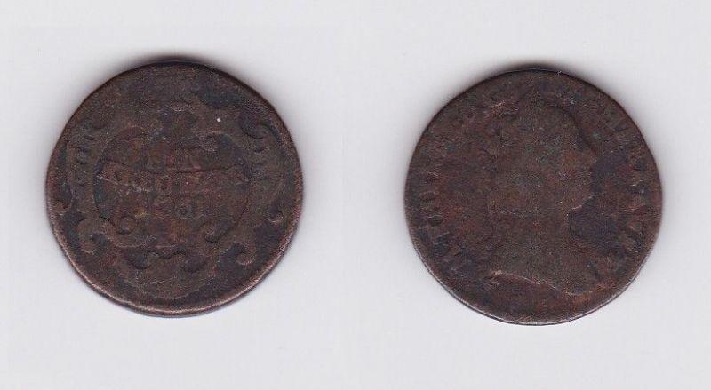 1 Kreuzer Kupfer Münze Österreich 1761 K (123045)