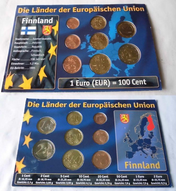 Kursmünzsatz Finnland Sonderprägung 8 Münzen Im Blister 1 Cent 2