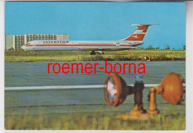 79286 Foto Ak Interflug Turbinenluftstrahlverkehrsflugzeug IL 62 von 1976