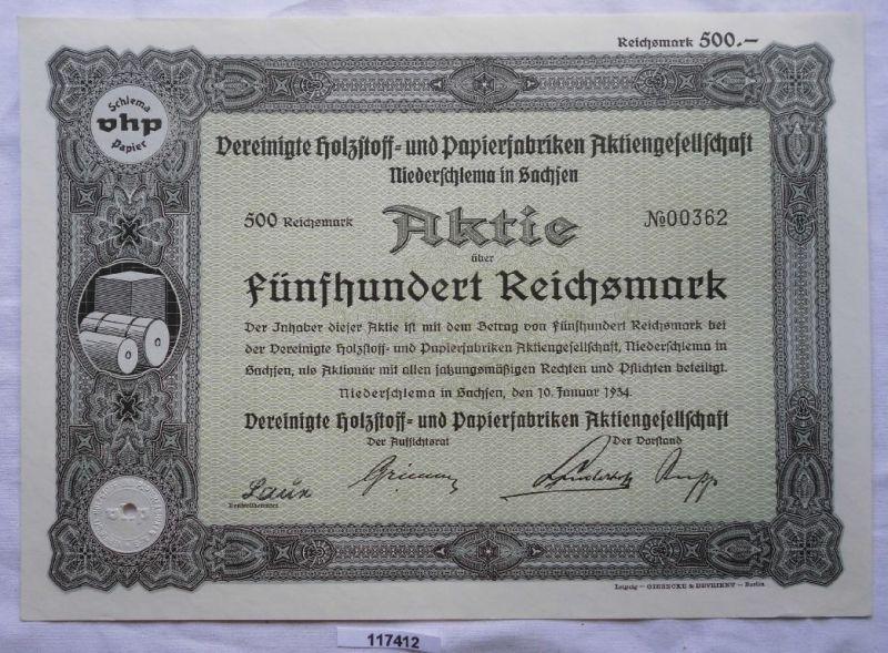 Aktie Vereinigte Holzstoff- & Papierfabriken Niederschlema 1934 (117412)