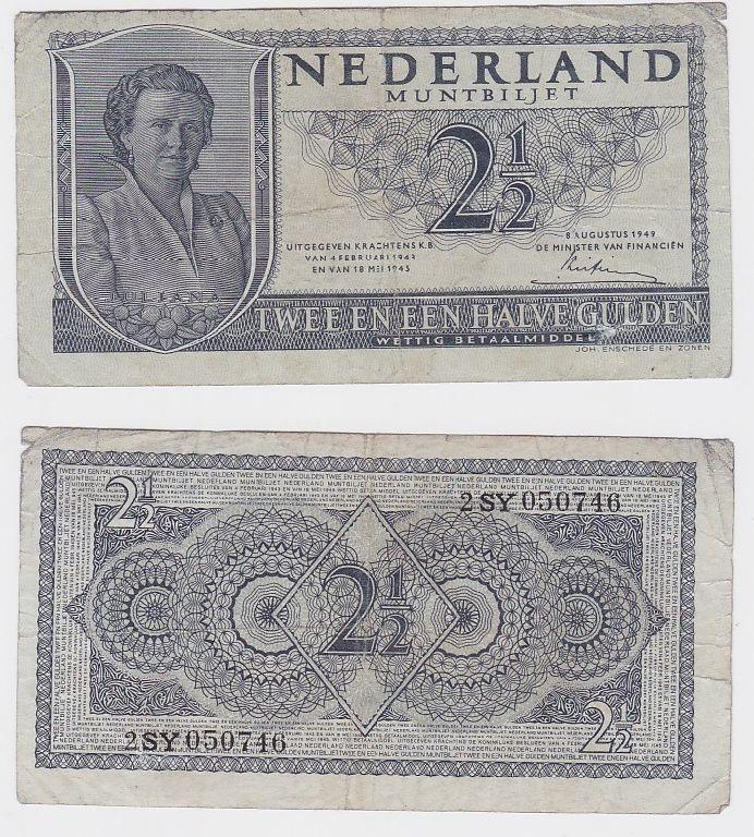 2 1/2 Gulden Banknote Niederlande 8.August 1949 (117312)