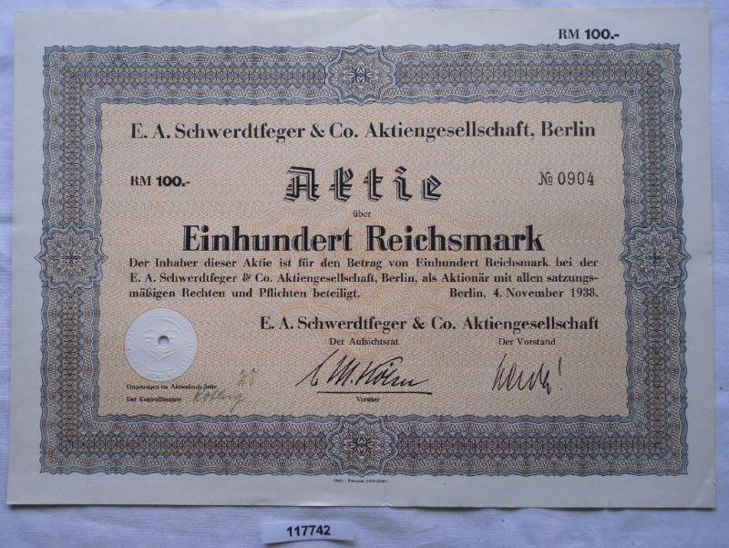 Aktie E.A.Schwerdtfeger & Co AG Berlin 4.November 1938 (117742)