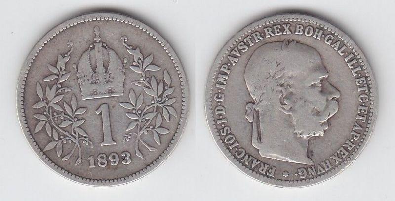 1 Krone Silber Münze Österreich 1893 (105020)