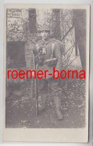 52395 Foto Ak Soldat Infanterie Regiment 107 Leipzig in voller Ausrüstung