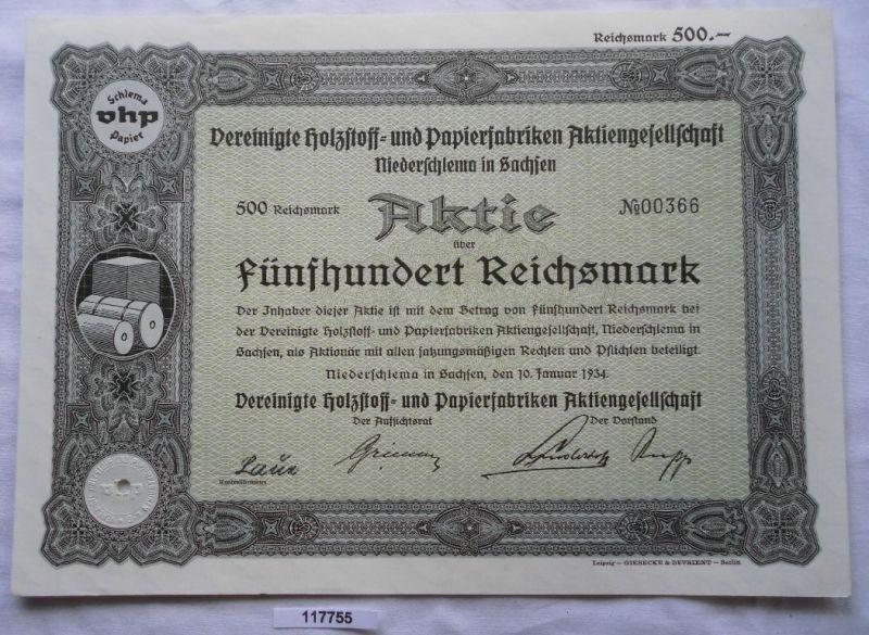Aktie Vereinigte Holzstoff- & Papierfabriken Niederschlema 1934 (117755)