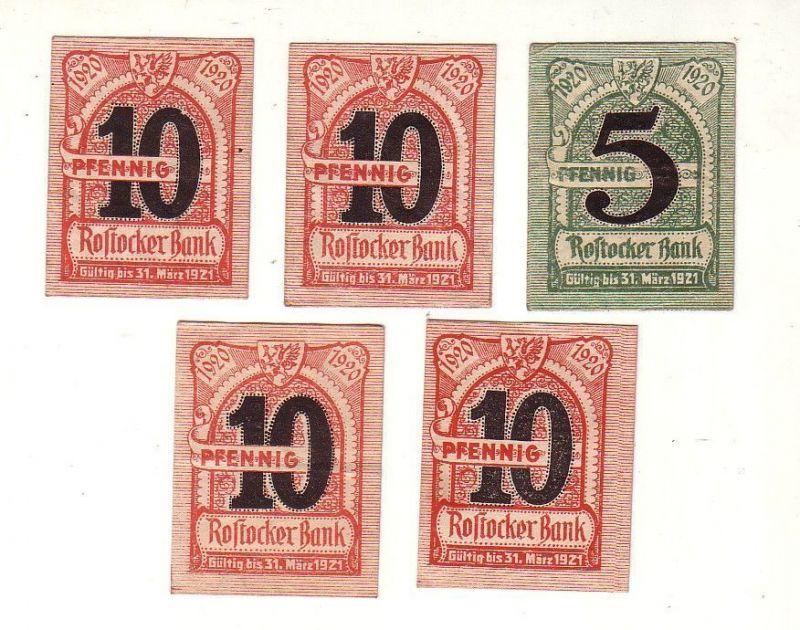 5 Banknoten Notgeld Rostocker Bank 1920 (116985)