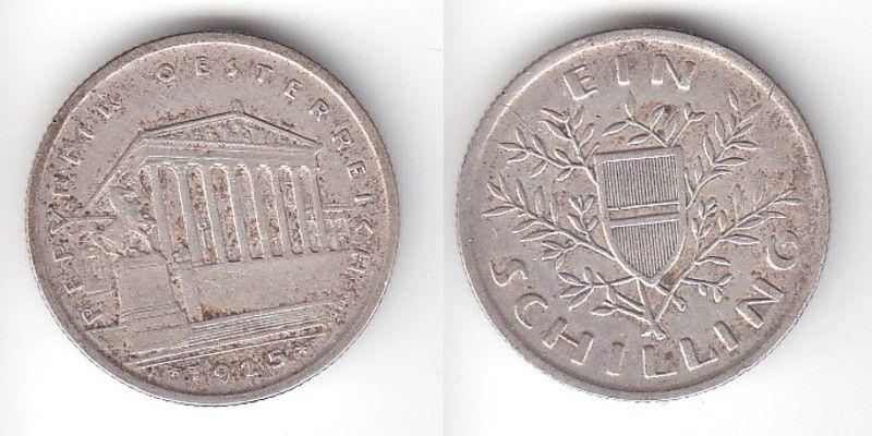 1 Schilling Silber Münze Österreich Parlamentsgebäude 1925 (111208)