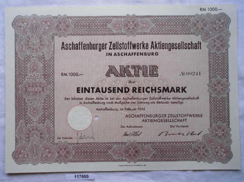 Aktie Aschaffenburg Zellstoff- & Papierfabrikation Februar 1942 (117650)